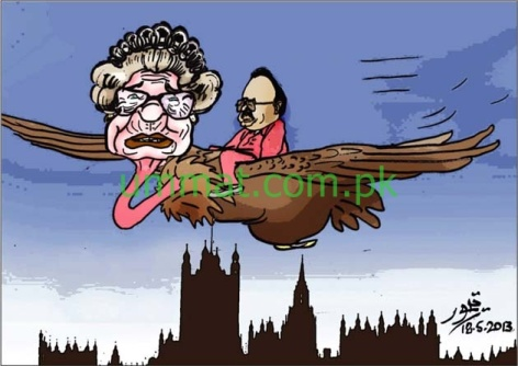 CARTOON_Altaf Harami flies on the wings of British Queen